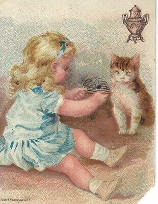 Victorian Advertising Trade Card ~Sweet Girl & Kitten ~Dilworth Brothers Coffee