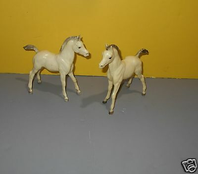 "Breyer White Arabian Foal 6.5"" Tall Gray Mane Horse Animal Figure Pair of 2"