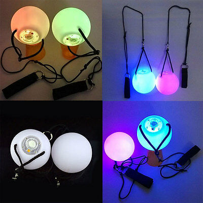 Professional Pair LED POI Glow Balls for Belly Dance Party Level Hand Props