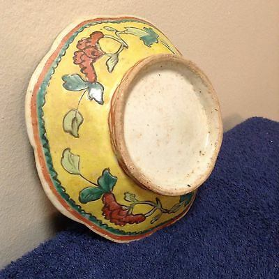Antique Chinese Enameled Famille Rose Bowl Hand Painted   As Is