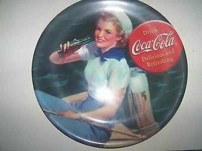 Collectible- Coca Cola 9 inch plate-Girl Fishing-Melamine-by Gibson