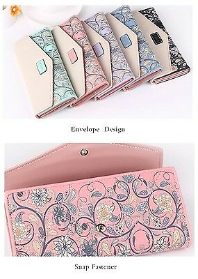 Women Wallet Envelope Flower Printing Leather Long Clutch Coin Purse Card Holder