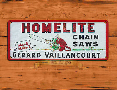 "TIN SIGN ""Homelite Chainsaws"" Power Tools Retro Art Wall Decor"