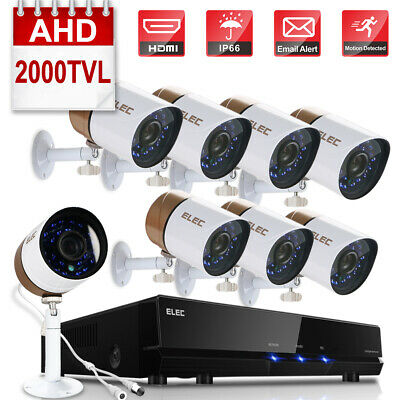ELEC 1080P 2000TVL AHD 8CH 4CH DVR HDMI Video CCTV Security Camera System 1TB AU
