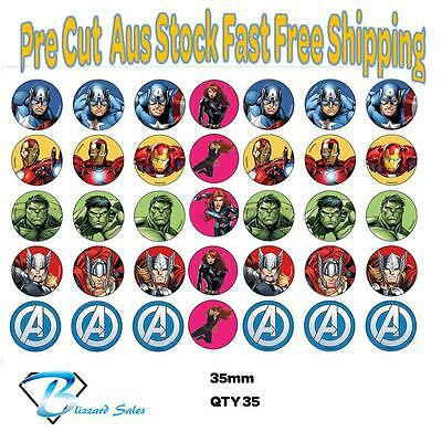 35x  Marvel Avengers Icing or Wafer Cupcake Toppers 35mm Cake Decorating