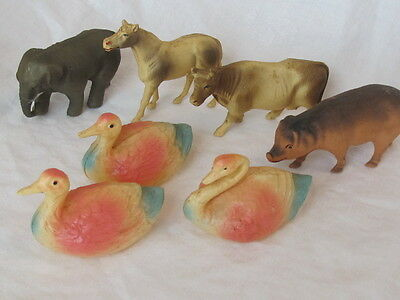 """Lot Of Vintage Plastic Celluloid Bull & Cow Swan Elephant Pig Horse All Good 3"""""""