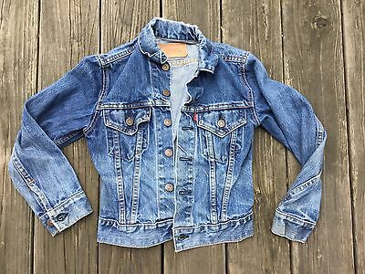 Vtg Levis Big E Denim Coat Jacket Kids Youth Usa