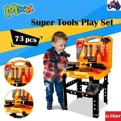 73pcs Kids DIY Work Bench Tools Pretend Role Play Toy Set Saw Drill Hammer nut