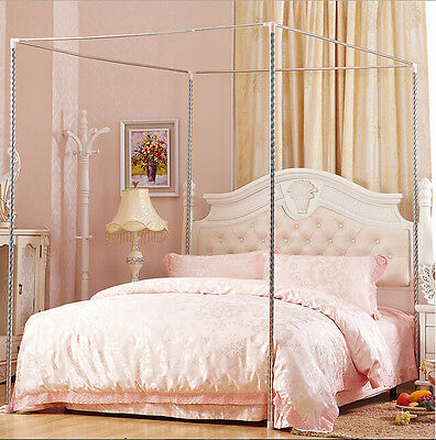Stainless Steel Hold Bed Mosquito Netting Frame Post Single Double King Size
