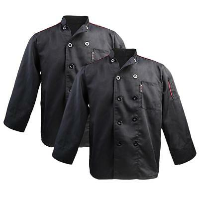 2 Pcs Black Chefs Jacket Long Sleeve Plain Chef Coat Chefs Uniform Unisex
