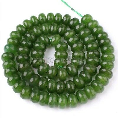 "5x8mm Natural Smooth Green Jade Rondelle Gemstone Loose Beads 15"" Strand AAA"