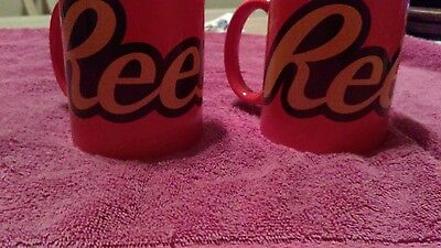 Reese's peanut butter chocolate bar ceramic  coffee mugs set of two 12 oz gift
