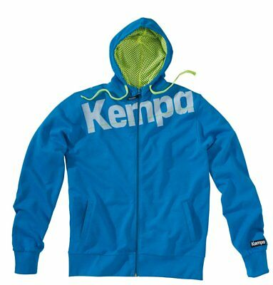 Kempa Kids Core Full Zip Hoodie Hooded Jacket Sweatshirt Top Sports Junior Blue