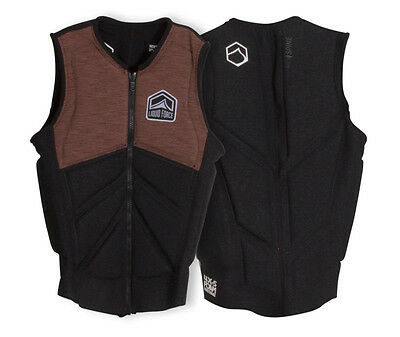 2017 Liquid Force Z Cardigan Zip Wakeboard Impact Vest, S - XL, Coal/Tan 61347