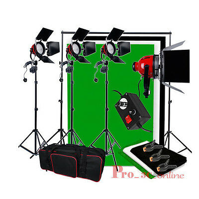 Video Photo 2400W Redhead Continuous Lighting Kit Black + White Background Stand