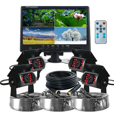 "9"" Quad Split Screen Monitor 4x Backup Rear View CCD Camera Syetem For Truck RV"