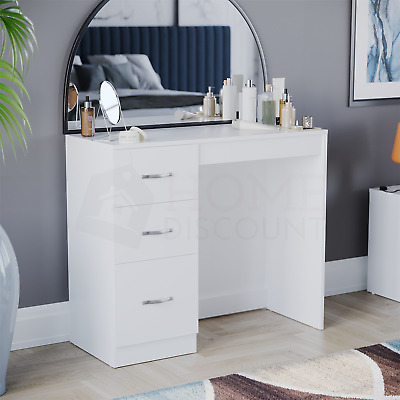 Riano 3 Drawer Dressing Table White Makeup Desk Wooden Bedroom Furniture