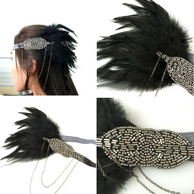 Vintage Black Feather Grey Silver Headpiece 1920s Headband Flapper Great Gatsby