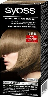 3 x 114ml Syoss Coloration 7-8 Beige Blond