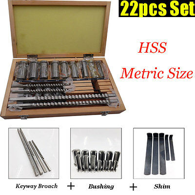 30pc 22pc 18pc 6pc Keyway Broach Kit Metric Size Set HSS CNC Metalworking Tool