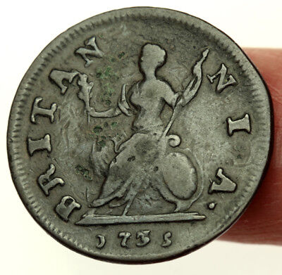 Rare: 1735 3/5 Farthing George II ~ Now Known To Be 3 Over 3 ~ Peck 863* Error