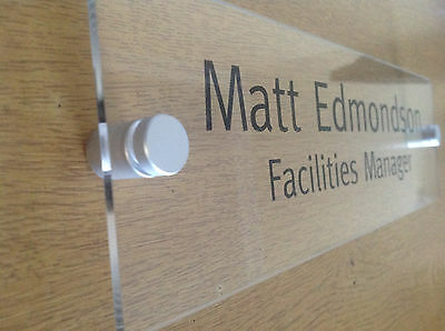 Office Door Sign/Plaque - 250 x 75mm - Clear Acrylic + Stand Off Fittings