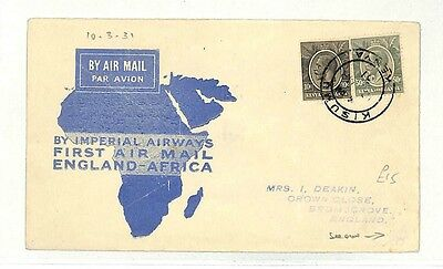 AB213 1931 Kenya Kisumu GB First Air Mail England Africa Cover PTS