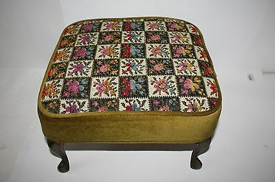 Mid-Century Needlepoint Upholstered Floral Patchwork Foot Stool Brass legs  EUC