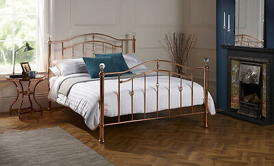 Rose Gold Bedstead with Crystal Effect Detailing Glitz Magical Feel Bed Frame