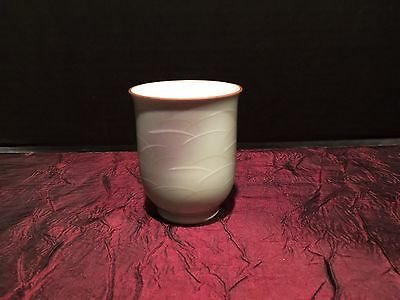 Asian Porcelain Tea or Sake Cup Decorative Green Pattern Marked