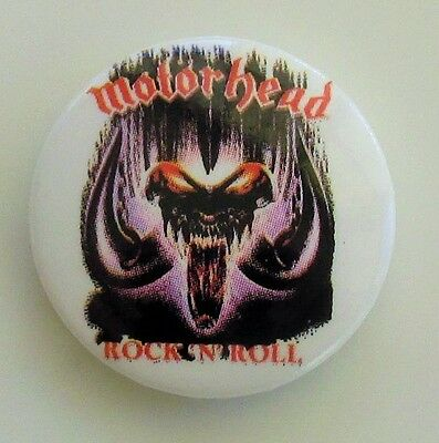 MOTORHEAD ROCK N ROLL VINTAGE METAL BUTTON BADGE FROM THE 1980's  NEW OLD STOCK