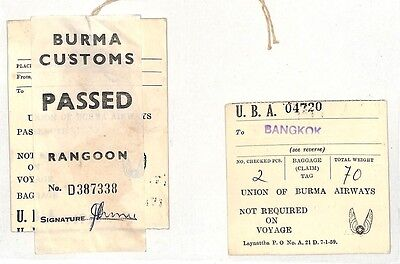 BF105 Union of Burma Airways Luggage Tag *BANGKOK* Rangoon {samwells-covers}