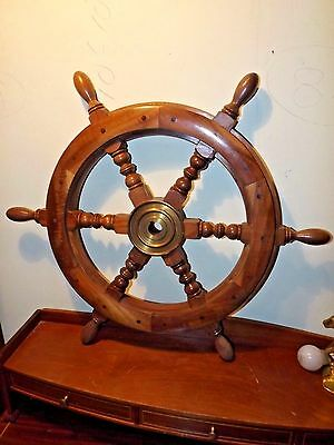 "Vintage Solid Wood & Brass Sailboat Yacht Ships Wheel 24"" dia. 1"" Center Hole"