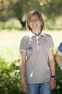 Horseware Boys  PIQUE Polo Shirt  Rugby Number Detail Khaki Blue 3-12yrs