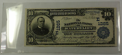 1902 Plain Back $10 National Currency Banknote AU Watervliet NY Charter # E 1265