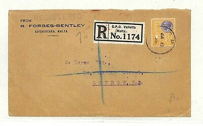 AB235 1928 Malta Registered *Valletta* Commercial Cover GB {samwells-covers}PTS