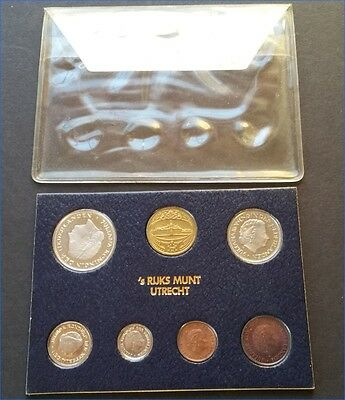 1980 Netherlands 6 Piece Coin Set & Mint Medal, Uncirculated In Sleeve Case