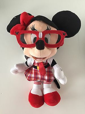 Disney Parks Minnie Mouse Nerd School Girl Nerdy Hipster Plush With Tags