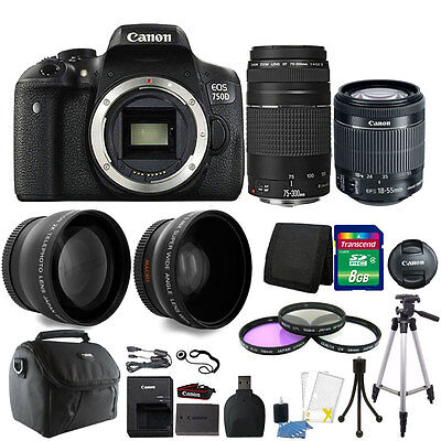 Canon EOS 750D / T6i 24.2MP DSLR Camera + 18-55mm IS STM + 75-300mm Lens Bundle