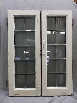 Pair Antique Casement Leaded Windows Cabinet Cupboard Door Bookcase Vtg 290-17R