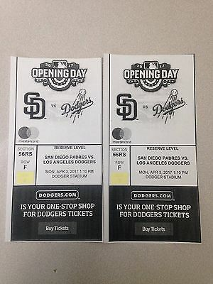Los Angeles Dodgers Opening Day Tickets (2) 4/3/17 vs Padres Section 56RS