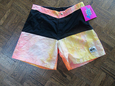Vintage 1980's Nwt, Quiksilver Surf Board Shorts, Authentic Not Fake, Size 28,