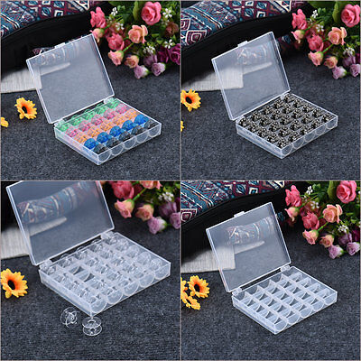 25 Plastic Iron Bobbins + 1 Bobbin Case Set Craft Sewing Machine Bobbin Case New