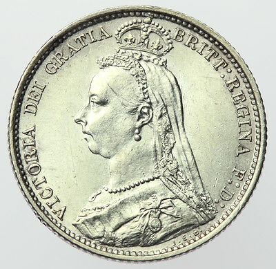 1887 R Over I Sixpence (Withdrawn Type) ~ Victoria Jubilee Head ~ R/I Error aUNC
