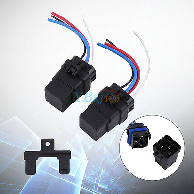 2Pcs DC 12V 40A 4 pin Waterproof Integrated Automobile Relay & Socket Holder