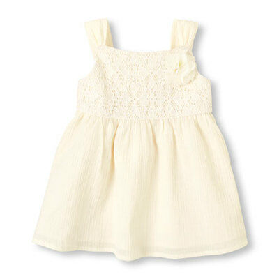 The Childrens Place Baby Toddler Girl White Floral Lace Dress