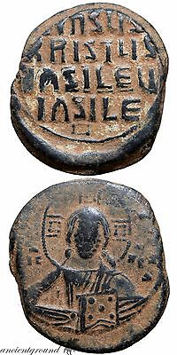 Byzantine Ae Coin Anonymos Follis A , Basil Ii 976-1025 Ad Constantinople