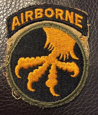 Original WWII US Army 17th Airborne Division Patch w Attached Tab WW2 No Glow