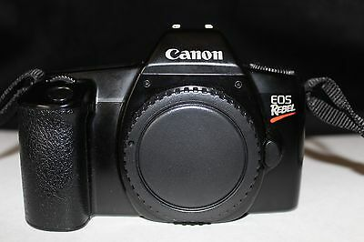 Canon EOS Rebel  SLR FILM camera body only -WORKS W/Cap and Strap EXCELLENT