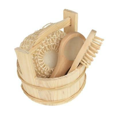 Wood Wooden Bucket Bath Body Clean Kit w/ Sponge Comb Mirror Bathroom Set
